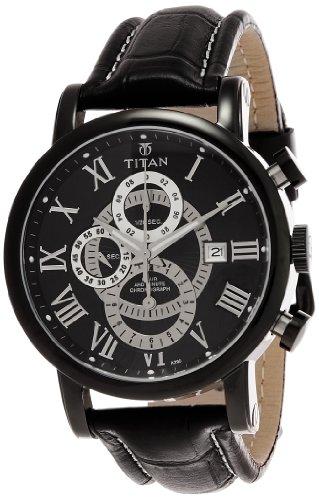 Titan Classique Chronograph Black Dial Men's Watch - NE9234NL01J