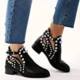 Womens Black Flat Chelsea Ankle Boots Studded Embellished Cut Out Shoes UK Size