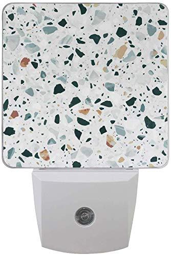 2er Pack LED Plug-in Nachtlichtlampe Klassischer italienischer Marmor Vintage Druck mit Dämmerungssensor für Schlafzimmer, Badezimmer, Flur, Treppen, 0,5 W -