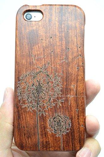 RoseFlower® iPhone SE / iPhone 5S / iPhone 5 Holzhülle - Kirschholz - NatürlicheHandgemachteBambus / Holz Schutzhüllemit Kostenlose Displayschutzfolie für Ihr Smartphone Rosenholz-Löwenzahn
