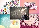 Geburtstagskarten-Set mit 20 Geburtstags-Postkarten, 5 Motive mit jeweils 4 Geburtstagskarten, Aufschriften Happy Birthday, Herzlichen Glückwunsch, Alles Gute zum Geburtstag und weitere.