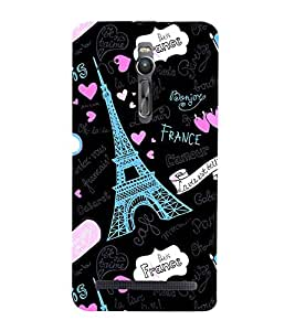 FUSON Paris lovers Designer Back Case Cover for Asus Zenfone 2 ZE551ML