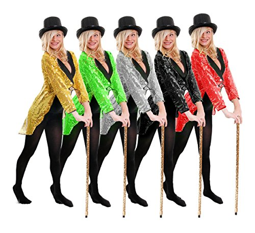 Gold Kostüm Showgirl (FRACK/TAILCOAT= PAILLETTEN FRACK = DAS PERFEKTE KOSTÜM FÜR JEDE TANZAUFFÜHRUNG - STEPTANZ -FASCHING UND KARNEVAL = DER SUPER KLASSE = DIESER FRACK IST ERHALTBAR IN 5 VERSCHIEDENEN FARBEN UND 6)
