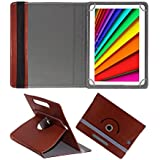 Fastway Rotating Leather Flip Case For I Kall N10 16 GB 10.1 With Wi-Fi+4G Tablet Cover Stand Brown