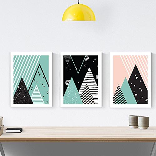 Nacnic 3Stück Blatt für Einrahmung Geometrische Berge. estillo Nordico, skandinavischen. Home Decor. Poster Kunstdruck auf Papier 250Gramm und beständig Tinten. -