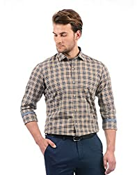 Monte Carlo Mens Checkered Regular Fit Casual Shirt (2180764256FS-1_Brown and Blue_42)