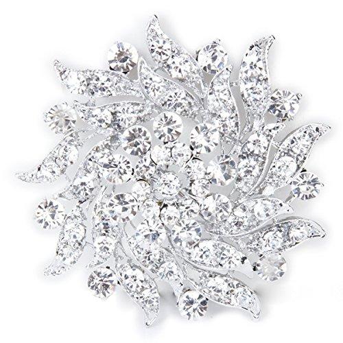 Pixnor strass fiore sposa Bouquet Spilla Spilla argento