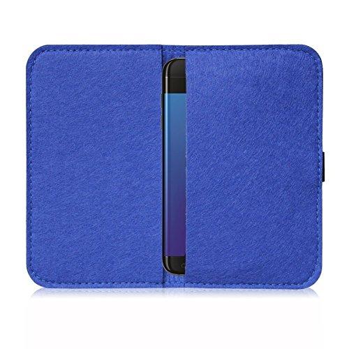 Filz Hülle für Smartphones Cover Tasche Case Flip Filztasche mit Kartenfach in verschiedenen Farben mit straffen Gummiband passend für Apple iPhone 6S Plus / 6 Plus von UC-express®, Farbe:Hell Grau Blau