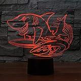 LLZGPZXYD 3D LED 7 Couleurs Créatif Requin Surf Modélisateurs Modélisation Bureau Lampe USB Nuit Lumière Chambre Chevet Décoration Animale Enfants Cadeau