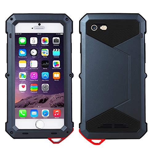 iPhone 7 Hülle, Feitenn Waterproof Protective Metall Schutzhülle Extreme Water Resistand Full Body Shockproof Aluminium Alloy Military Bumper Heavy Duty Cover Shell Case Grilla Glass Protector für iPh Blau