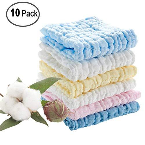 Baby-Waschlappen moonvvin Natürliche Baumwolle Baby Tücher Weich Neugeborene Baby Gesicht Handtuch und Musselin Waschlappen, für empfindliche Haut für Dusche Geschenk 10pack-random Farbe