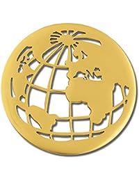 Amello Coin Mundo bola (Acero Inoxidable Dorado para coinsfassung Acero joyas esc517y