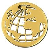 Amello Edelstahl Coin Weltkugel vergoldet für Coinsfassung Stahlschmuck ESC517Y