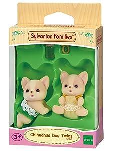 Sylvanian Families-5085 Animales Gemelos Perros Chihuahua, Color Assorted Colours, Verde, Rosa, Blanco, Amarillo (Epoch para Imaginar 5085)