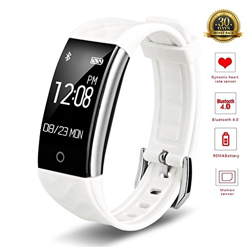 Goldstart Smart Armband Wasserdicht IP67 Fitness Tracker-pedometers Herzfrequenz Monitor Sports Activity Smart Uhren, weiß
