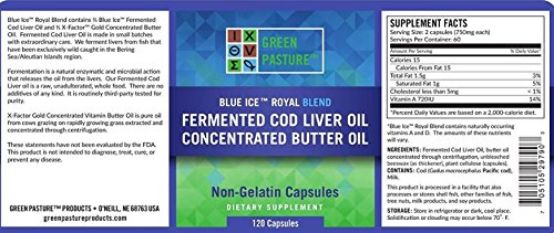 Green Pasture Blue Ice Royal Butter/Fermented Cod Liver Oil Blend – 120 Capsules