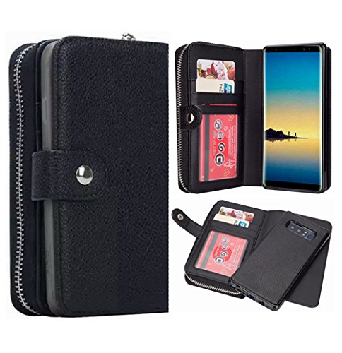 Galaxy Note 8Geldbörse Fall, hysjy Magnetic Abnehmbare Flip Leder Telefon Fall mit Kartenfächern Wristlet Gurt Tasche Abnehmbarer Slim Back Cover für Samsung Galaxy Note 8, Zip-Black -