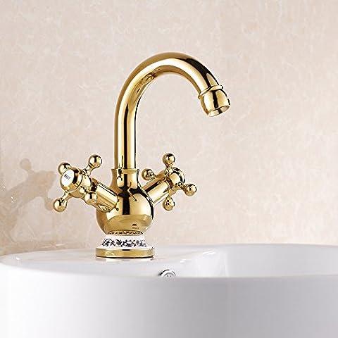 JinRou moderno/lusso contemporaneo lavello tocca a caldo e a freddo con doppio manico per wc rubinetto-style gold rubinetti