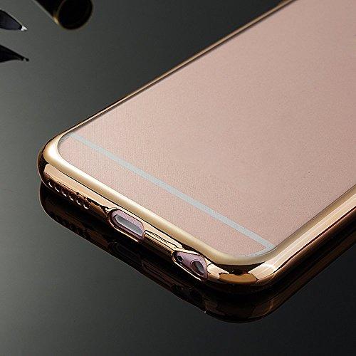 Handy Hülle Schutzhülle für Apple iPhone 6 / 6S 4,7 Zoll - Skitic Ultra Slim Transparent TPU Silikon Rückseite Luxus Bumper Rahmenschutz Case Cover Etui Handyschutzhülle, Rose Gold Gold