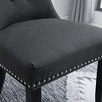 BOJU Grey Wingback Kitchen Dining Chairs Set of 4 Soft Living Room Side Chairs for Office Reception Lounge Comfortable Chairs with Fabric Upholstered Padded Seat Studded Nailhead Button (Dark Grey, 4)
