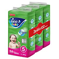 Fine Baby Diapers, Size 5, Maxi 11–18kg, Jumbo Pack, 3 packs of 44 diapers, 132 total count