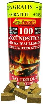 favorit 1257 Anzündsticks, 100-Stück Naturholzanzünder