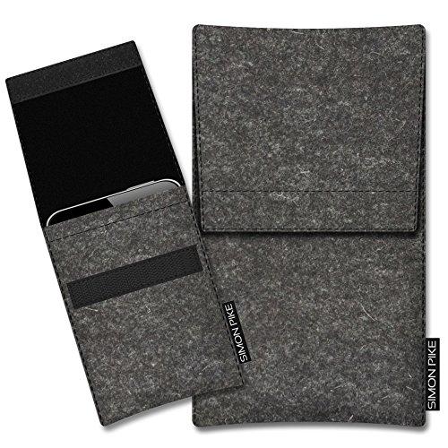 SIMON PIKE Apple iPhone SE/5S/5C/5 Filztasche Case Hülle 'Sidney' in rot 10, passgenau maßgefertigte Filz Schutzhülle aus echtem 100% Natur Wollfilz, dünne Tasche im schlanken Slim Fit Design für das  anthrazit Filz (Muster 1)