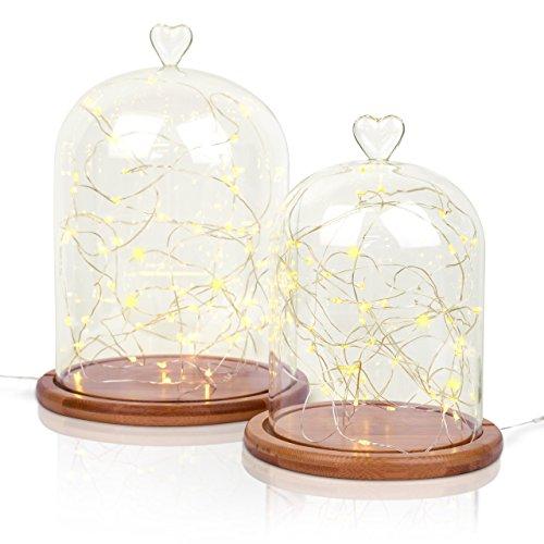 Campana de cristal con forma de cúpula, base de bambú, 2 tamaños,...