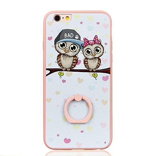 Voguecase Für Apple iPhone 7 4.7 hülle, Schutzhülle / Case / Cover / Hülle / TPU Gel Skin mit Ring Schnalle (Blau-Seelöwen) + Gratis Universal Eingabestift Pink-Meng Eule 06