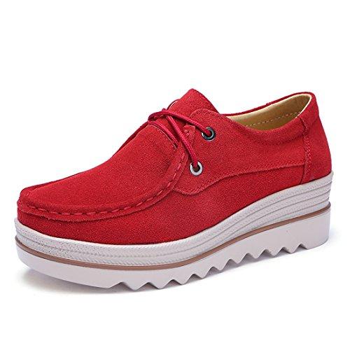 Z.SUO Mujer Mocasines de Cuero Gamuza Moda Loafers Casual Zapatos(38 EU,Rojo)