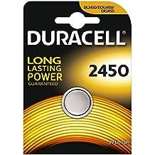 Juego de 2 pilas de botón Duracell CR2450 de litio, 3V, paquete tipo blíster