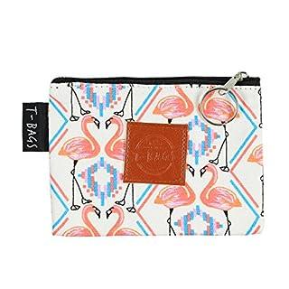 Original ♡ T-BAGS Thailand Geldbeutel | Schlüsselmäppchen | Utensilo| passend zu T-Bags Turnbeutel | hochwertig, stylisch, mit Reißverschluss | 14 coole Designs (Flamingo)