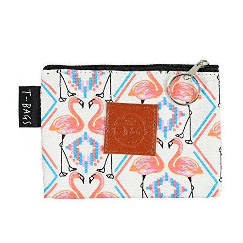 Original ♡ T-BAGS Thailand Geldbeutel | Schlüsselmäppchen | Utensilo| passend zu T-Bags Turnbeutel | hochwertig, stylisch, mit Reißverschluss | 14 coole Designs (Flamingo) -