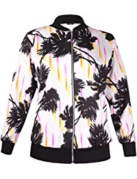 Womens Plus Size Floral Printed Ladies Long Sleeve Ribbed Zip Bomber Jacket Top