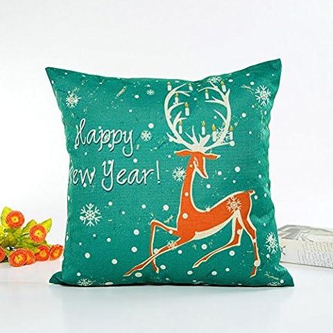 Toamen joyeux Noël mignonne Lin Coussins D'oreiller Canapé Housse de Coussin Accueil Oreiller de Décor - Multicolore (D 3)