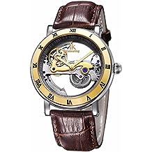 IK automático mecánica relojes hombres marca de lujo oro rosa Funda de piel esqueleto transparente Hollow reloj 50m resistente al agua