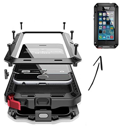 Gorilla Post (FINOO | wasserdichte Outdoor Handy Hülle für iPhone 6/6S mit Aluminium Legierung | Stoßfestes Robustes Metall Armor Case Cover | Panzer Hülle mit Gorilla Glas | Farbe schwarz)