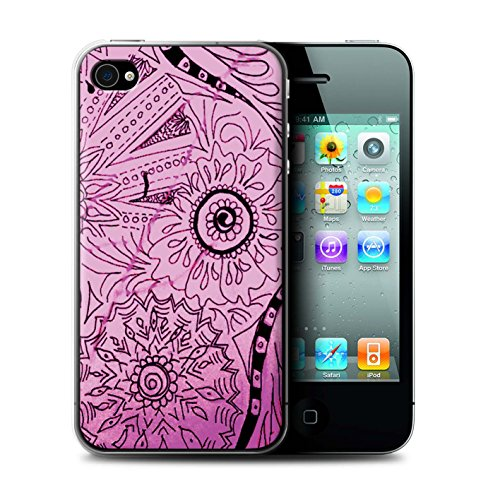 Stuff4® Hülle/Case für Apple iPhone 4/4S / Rosa/Schwarz Muster/Henna Paisley Blume Kollektion