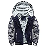 Zolimx Mens Hoodie Herren Winter Warme Eulendruck Fleece Zipper Sweater Jacke Outwear Samt Dicker Mantel Tops Blusen