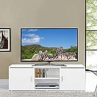 LANGRIA Mueble Bajo de Televisión con 2 Puertas 2 Estantes Inferiores y Agujero Pasacables Mesa Soporte Moderno de Salón Comedor Habitación (120 x 40 x 40 cm, Blanco)