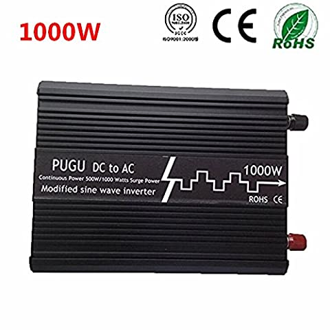 PUGU 1000W Modifizierte Sinuswelle Spannungswandler Inverter 12V auf 220V Wechselrichter
