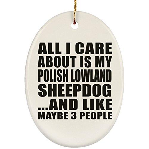 Designsify All I Care About is My Polish Lowland Sheepdog - Oval Ornament Oval Weihnachtsbaumschmuck aus Keramik Weihnachten - Geschenk zum Geburtstag Jahrestag Muttertag Vatertag Ostern - Polish Pottery Christmas Ornament