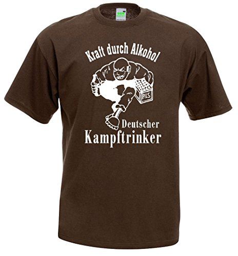 SPASS T-Shirt | Kampftrinker - Kraft durch Alkohol | Partyshirt Braun