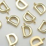2Stücke von glänzend gold Initiale Alphabet 'D' Anhänger Charms Stecker links Metall Perlen über Messing für 16K Gold vergoldet Ohrringe Halskette Armbänder etc. Schmuck-Herstellung –, Braut #, Braut in-1-gd-d