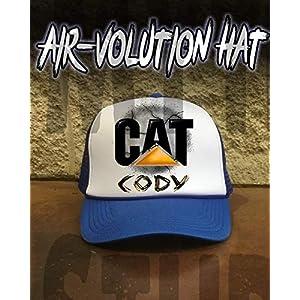 Mythic Airbrush Personalisierte Airbrushed CAT Snapback Trucker-Mütze Eine Grösse passt allen Schwarzer Hut