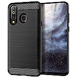 AOBOK Hülle für Samsung Galaxy A8S Hülle, Schwarz Karbon Look Elastisch Stylisch Soft Flex TPU Silikon Handyhülle Schutz vor Stürzen und Stößen Schutzhülle für Samsung Galaxy A8S Smartphone
