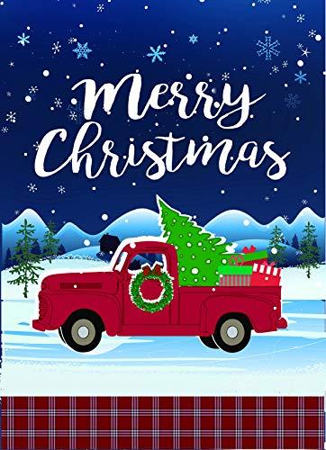 Outdoor Banner Display (Lantern Hill Merry Christmas Vintage Red Truck mit Weihnachtsbaum-Gartenflagge, 31,8 x 45,7 cm, Winter-Weihnachtsdekoratives Banner mit Kariertem Rand)
