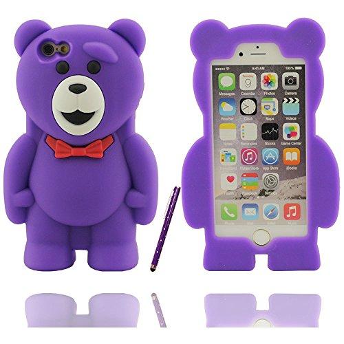 Effacer design à la mode mignon ours en peluche Shape Soft Cover Etui Coque de protection case pour Apple iPhone 6 / 6S 4.7 inch avec Touch stylet de l'écran violet