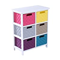 HOMCOM 3 Tier 6 Multicoloured Drawers Storage Cabinet Baskets Closet Shelf Cupboard Boxes Chest of Drawer Unit Living Room Bathroom Organiser