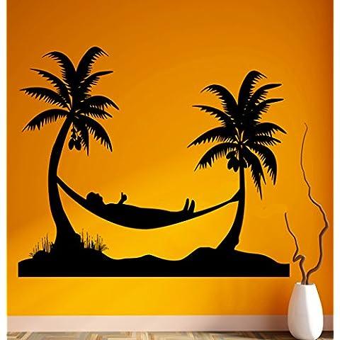 Adesivi da Parete in Vinile spiaggia vacanze Relax Tropical Palms Cool Decor (ig1859)